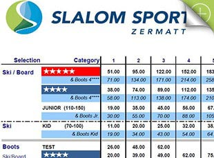 Slalom Sport Zermatt, Price lists